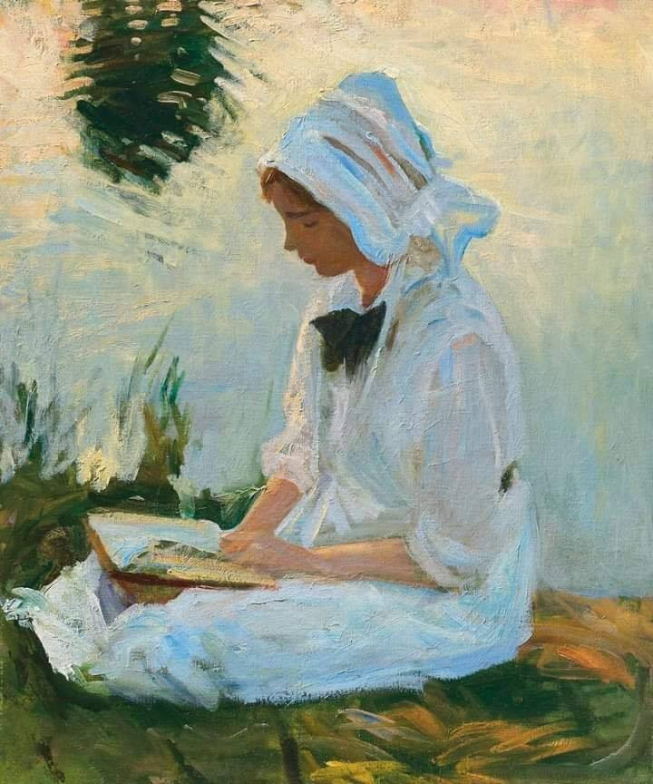Girl reading by a stream, 1888
